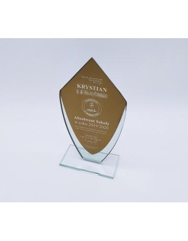 Złota statuetka szklana W281 z grawerem