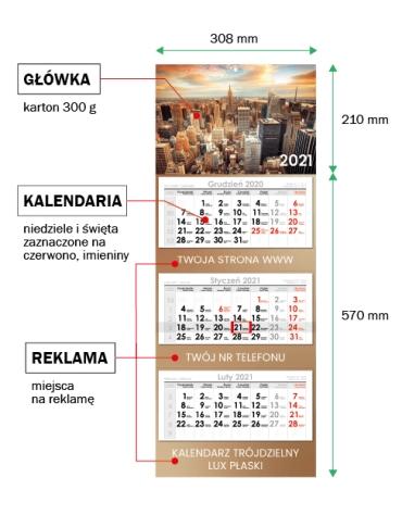 Kalendarze trójdzielne z płaską główką