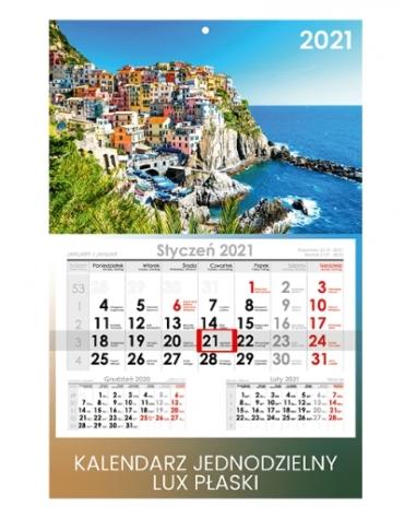 Kalendarze jednodzielne z płaską główką