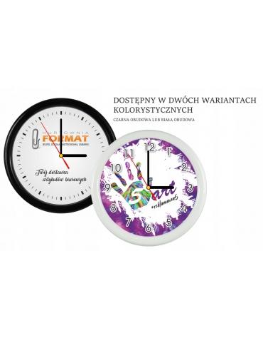 Zegar plastikowy ścienny 25 cm z logo